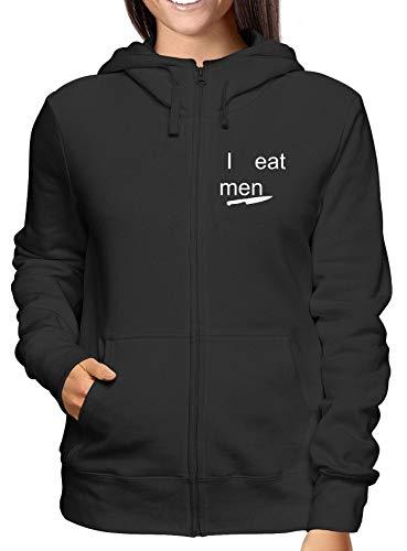 E Nero T0418 shirtshock Felpa Zip Cool Geek I Cappuccio Donna Fun Man Eat T qtYHTH