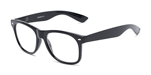 - Readers.com Fully Magnified Reading Glasses: The Dean, Full Frame Retro Square Reader for Women and Men - Black, 1.25