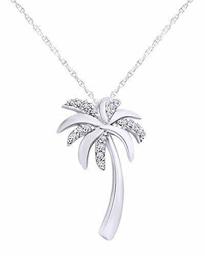 - Wishrocks Round Cut Diamond Accent Palm Tree Pendant in 10K Solid White Gold