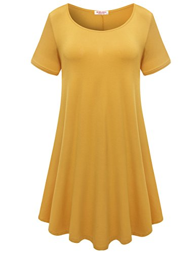 - BELAROI Womens Comfy Swing Tunic Short Sleeve Solid T-Shirt Dress (L, Yellow)