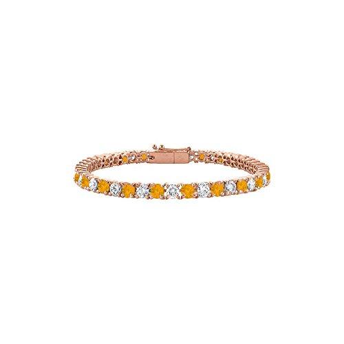 - Citrine and Cubic Zirconia Tennis Bracelet in 14K Rose Gold Vermeil. 5CT TGW. 7 Inch
