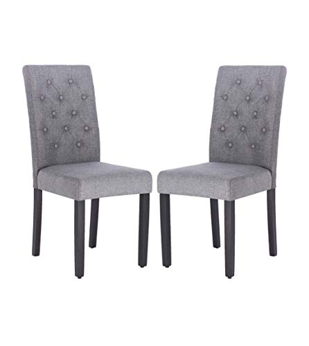 Fabric Dining Chair Modern Tufted Solid Wood Per-Home Padded Parsons Chair for Dining Room Living Room Set of 2(Gray)