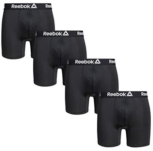 Reebok Men\'s 4 Pack Performance Boxer Briefs with Comfort Pouch,Blacks, Size Medium'