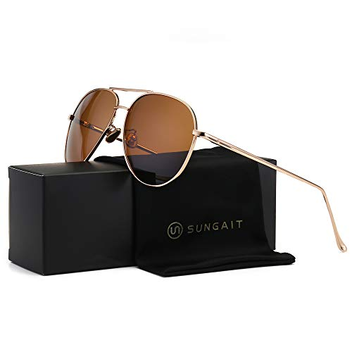 SUNGAIT Women's Lightweight Oversized Aviator sunglasses - Mirrored Polarized Lens (Light-Gold Frame/Brown Lens, 60)1603TKC