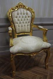 LouisXV Sillón Barroco fauteuille en Color Beige-Dorado ...