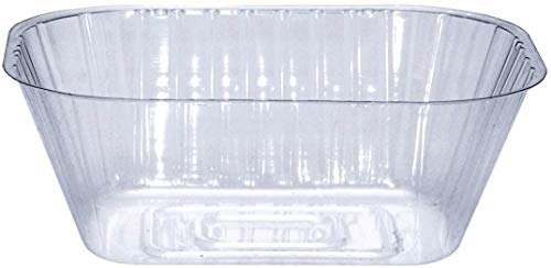 Curtis Wagner Plastics Plant Tray Basket Liner (5-Pack) – Clear, Oval (Diameter = 8.25 x 6.8 x 3.5 top, 6.5 x 4.25 Bottom, 3.5 Depth) Thin Plastic for Indoor or Garden – Clear, Black & Terracotta