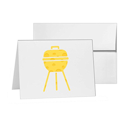 Grill Barbeque Bbq Charcoal Cooking, Blank Card Invitation Pack, 15 cards at 4x6, Blank with White Envelopes Style - Card Folded Invitation Bar 4