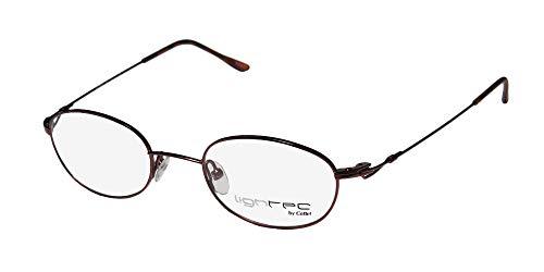 Lightec By Morel Genesis 56 Mens/Womens Oval Full-Rim Shape Spring Hinges Hot Hip Stainless Steel Eyeglasses/Spectacles (45-20-140, Bordeaux)