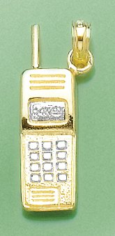 14k Two-tone Gold Trends Charm Pendant 3-D Cell Phone
