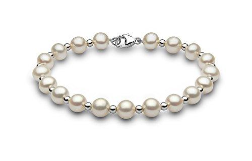 Kimura Pearls femme  9carats (375/1000)  Or blanc #Gold Rond Semi-circulaire Perle d'eau douce chinoise Blanc Perle FINENECKLACEBRACELETANKLET