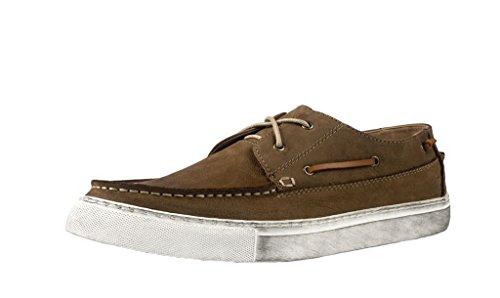 Santimon Mens Retro Sneaker Distressing Nubuck Leather Two-eye Boat Shoes Khaki zRbDRoB