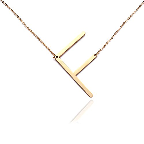 Price comparison product image Rinhoo Stainless Steel Gold Initial Alphabet 26 Letters Script Name Pendant Chain Necklace From A-Z(F) …