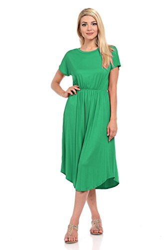 iconic luxe Women's Short Sleeve Flare Midi Dress with Pockets Large Kelly Green