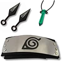 Kit Acessórios Naruto Presente - Bandana Vila da Folha, Colar Tsunade, 2 Mini Kunais