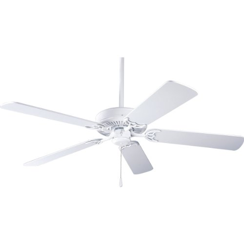 Progress Lighting P2501-30W 52-Inch Fan with 5 Blades and 3-Speed Reversible Motor with White Blades, White Progress Lighting 52 Inch Ceiling Fan