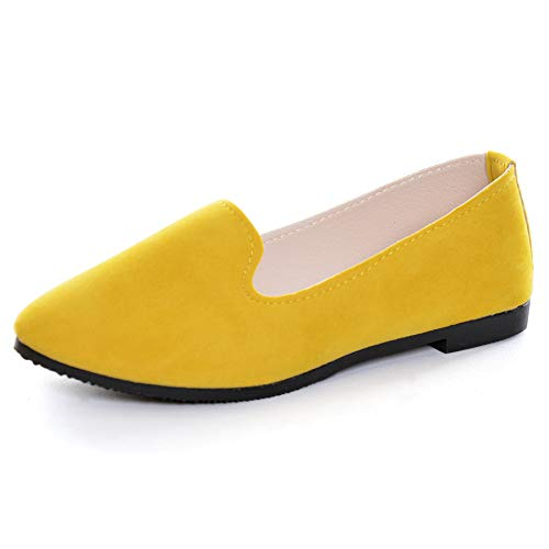 Slduv7 Women Pointed Comfortable Flat Ballet Shoes Yellow 40(7.5)