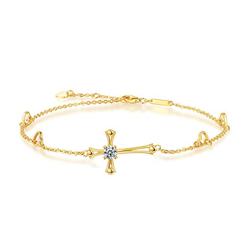 Cross Ankle Bracelet for Women, 925 Sterling Silver Charm Adjustable Foot Anklet, Large Cross Bracelet (Yellow Gold One Cubic Zirconia Cross) ()