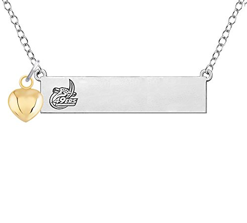 North Carolina Charlotte 49ers Bar Necklace with Gold Heart Accent (1 Bar Charlotte)