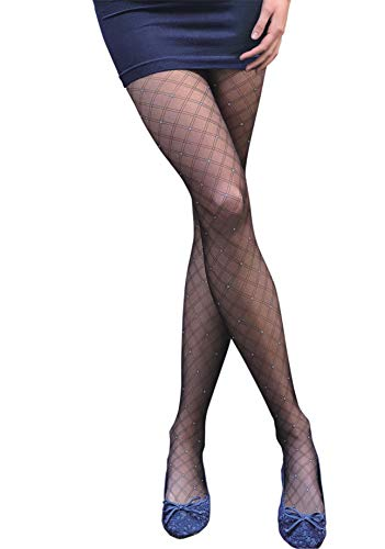 PATTERNED TIGHTS   Womens Black Sheer Tights with Sparkle Design   FANCY 09 by Gatta {Made in Europe} (Black, 4(L)