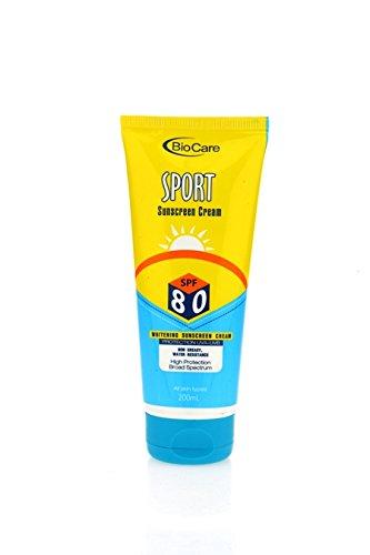 biocare whitening sunscreen cream with spf 80 200 ml amazon in