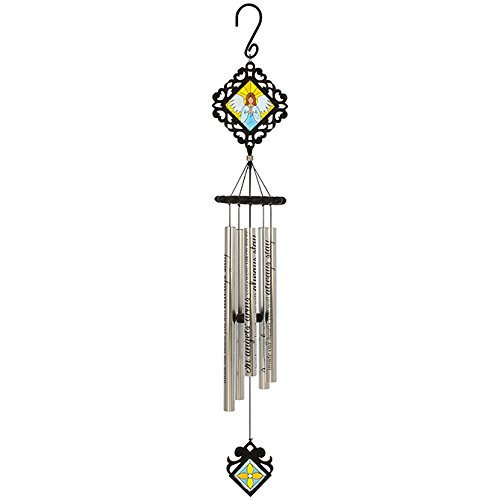 Carson Home Accents Angels' Arms Classic Stained Glass Sonnet Chime, - Stained Glass Angel