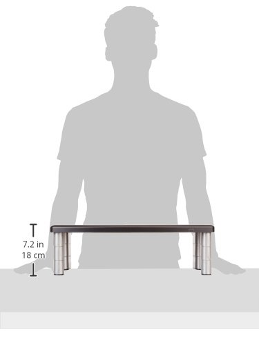 "3M Extra Wide Adjustable Monitor Stand, Three Leg Segments Simply Adjust Height from 1"" to 5 7/8"", Sturdy Platform Holds Up to 40 lbs, 16-inch Space Between Columns for Storage, Silver/Black (MS90B)"
