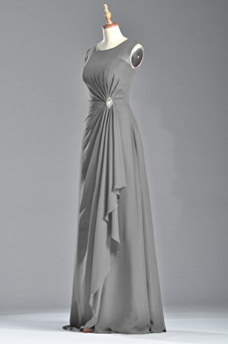 Women's Sleeveless Long Natrual Chiffon Straps Bateau Adorona Pewter Dress Sheath SqdRBS