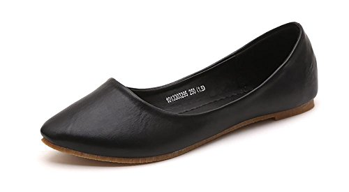 IF FEEL Women's Leather Black Casual Pointy Toe Soft Solids Ballet Walking Flats Shoes - Size 8