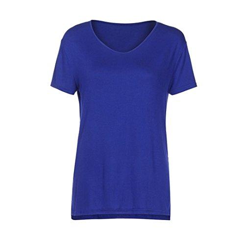 Avant Casual Col Adeshop Respirant Court Fentes Femmes Irrégulier Courtes T shirts Latérales V Bleu Manches Élégant Blouse Longtemps Chemisier T Plaine shirt Tops Tee qYfawY