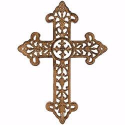 (Wall Cross-Fleur De Lis Medallion Tuscan Cast Iron (14