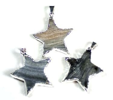 Dinosaurs Rock Genuine Agate Druzy Star shaped Pendant w/silver plate accents