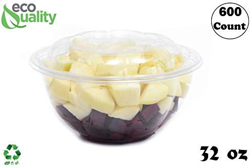 Rice Bowl Rose - 32oz Clear Disposable Salad Bowls with Lids (600 Pack) - Clear Plastic Disposable Salad Containers for Lunch To-Go, Salads, Fruits, Airtight, Leak Proof, Fresh, Meal Prep | Rose Bowl Container (32oz)