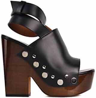 b44fcdedcb2a Givenchy Womens Black Leather Stud Clog Platform Sandals
