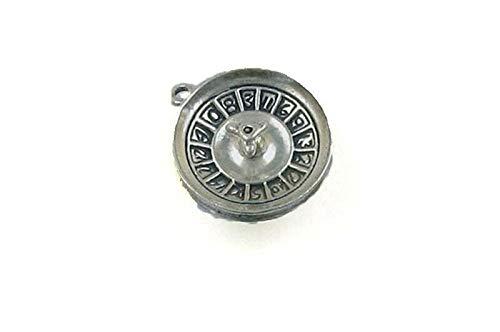 (Pendant Jewelry Making/Chain Pendant/Bracelet Pendant Sterling Silver 3-D Roulette Wheel Charm)