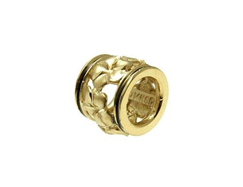 Arthur's Jewelry 14K Solid yellow gold 10mm Hawaiian plumeria barrel pendant black border