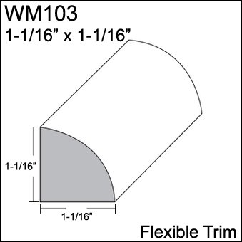 Flexible Moulding - Flexible Quarter Round Moulding - WM103 - 1-1/16