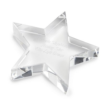 Things Remembered Personalized Slanted Star Crystal Paperweight with Engraving Included