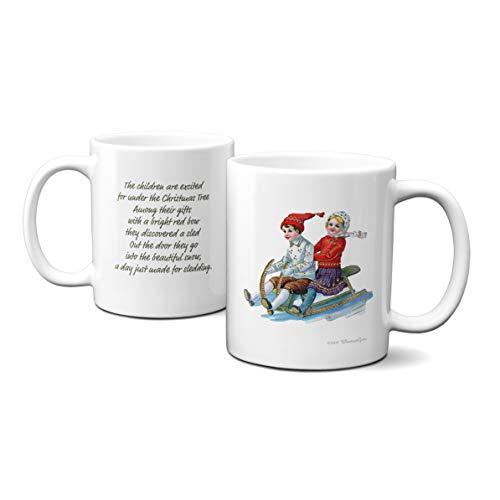 WhatnotGems Vintage Holiday Cards Children on a Sled Christmas Mug (White, 11 -
