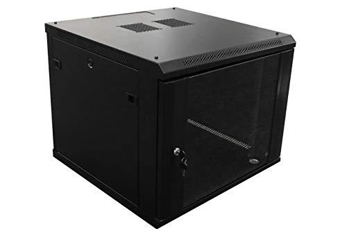 9U Professional Wall Mount Network Server Cabinet Enclosure 19-Inch Server Network Rack Black (Fully Assembled)