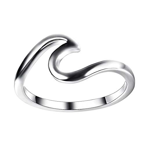 (Jamieya 925 Sterling Silver Metal Wave Ring for Women Size 8 with Exquisite Ring Box)