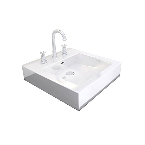Cantrio PS-1617 Ceramic Above Mount Bathroom Sink, 16.87 x 17.75-Inch
