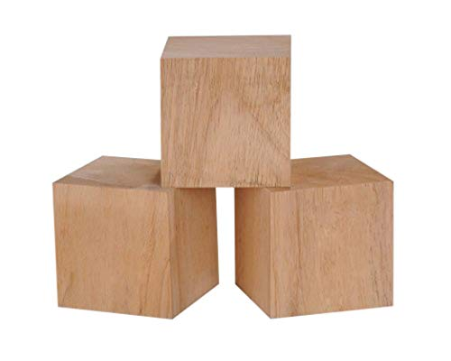 4 Inch Solid Wood Blocks Pack of 3 ()