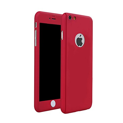 Price comparison product image iSi Cases for iPone 6 Plus, iPhone 6s Plus Case Cover 5.5 inches Ultra Thin Full Body Coverage Protection Hard PC Plastic Slim Case Cover with Tempered Glass Screen Protector - Red