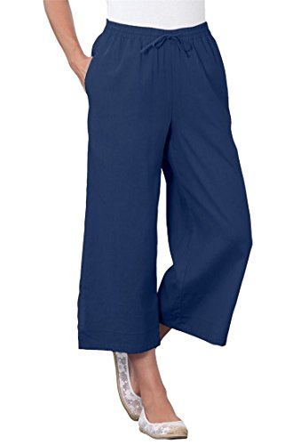 Womens Cropped Wide Leg Linen Pants (Only Necessities Women's Plus Size Petite Pants, Cropped Length In Cool Linen)