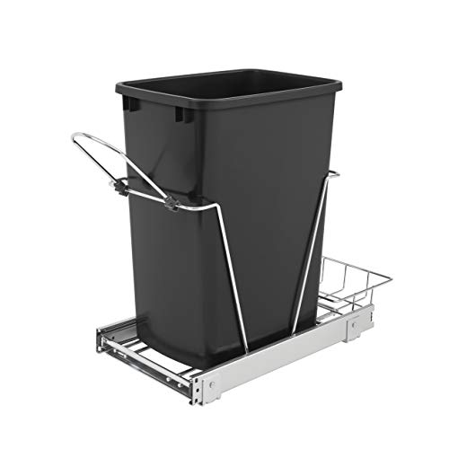 Rev-A-Shelf RV-12KD-18C S Single 35-Quart Sliding Pull Out Kitchen Cabinet Waste Bin Container, Black
