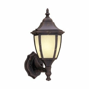 Designers Fountain ES2462-AM-AG Builder Cast Aluminum Energy Star Collection 1-Light CFL Exterior Wall Lantern, Autumn Gold Finish with Warm Amber Glaze ()