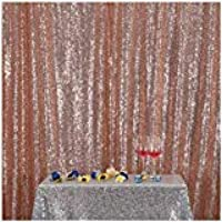 3e Home 8FT x 8FT Sequin Photography Backdrop Curtain Party Decoration, Rose Gold