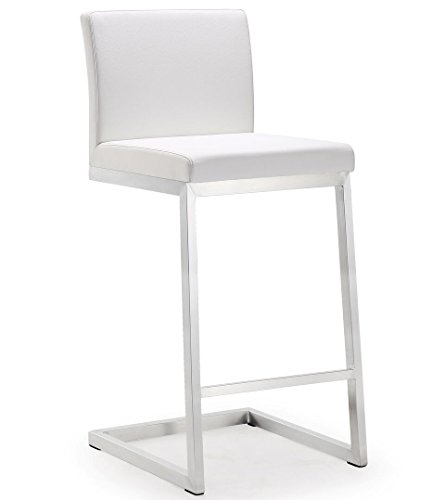 Tov Furniture Parma Stainless Steel Counter Stool (Set of 2), White