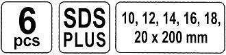 /20/mm SDS tige /Vrille Foret /à bois Set de 6/10/ Yato YT-3300/