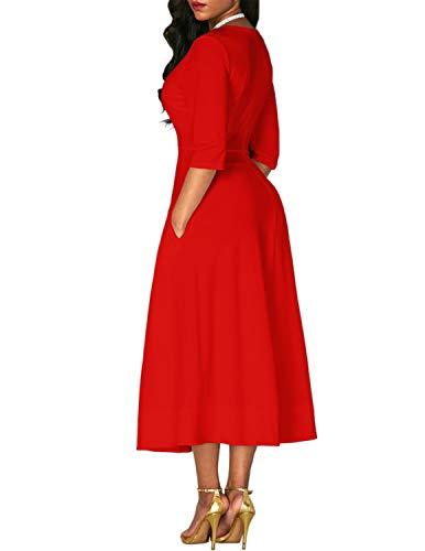 Avec À Robe Laden Femme longue V Deux Rouge De Vintage Plissée Cocktail Bequemer Poches Latérales Mi Col Soirée Élégant nkNX8OP0w